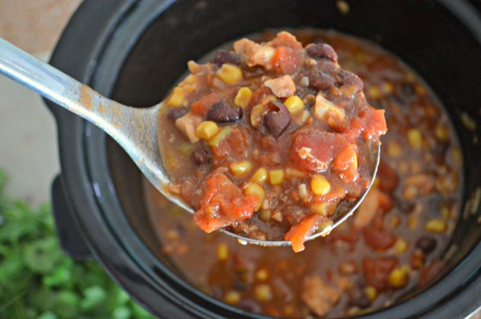 Easy Slow Cooker Chicken Black Bean Chili In A Ladle Slow Cooker