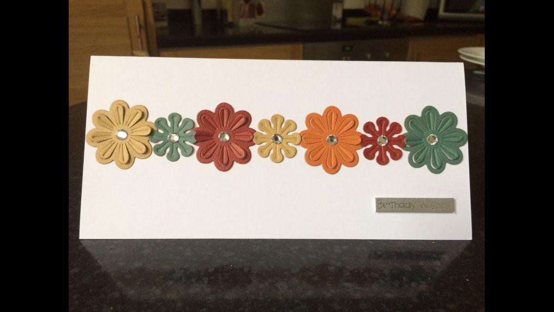 Handmade birthday card autumn flowers