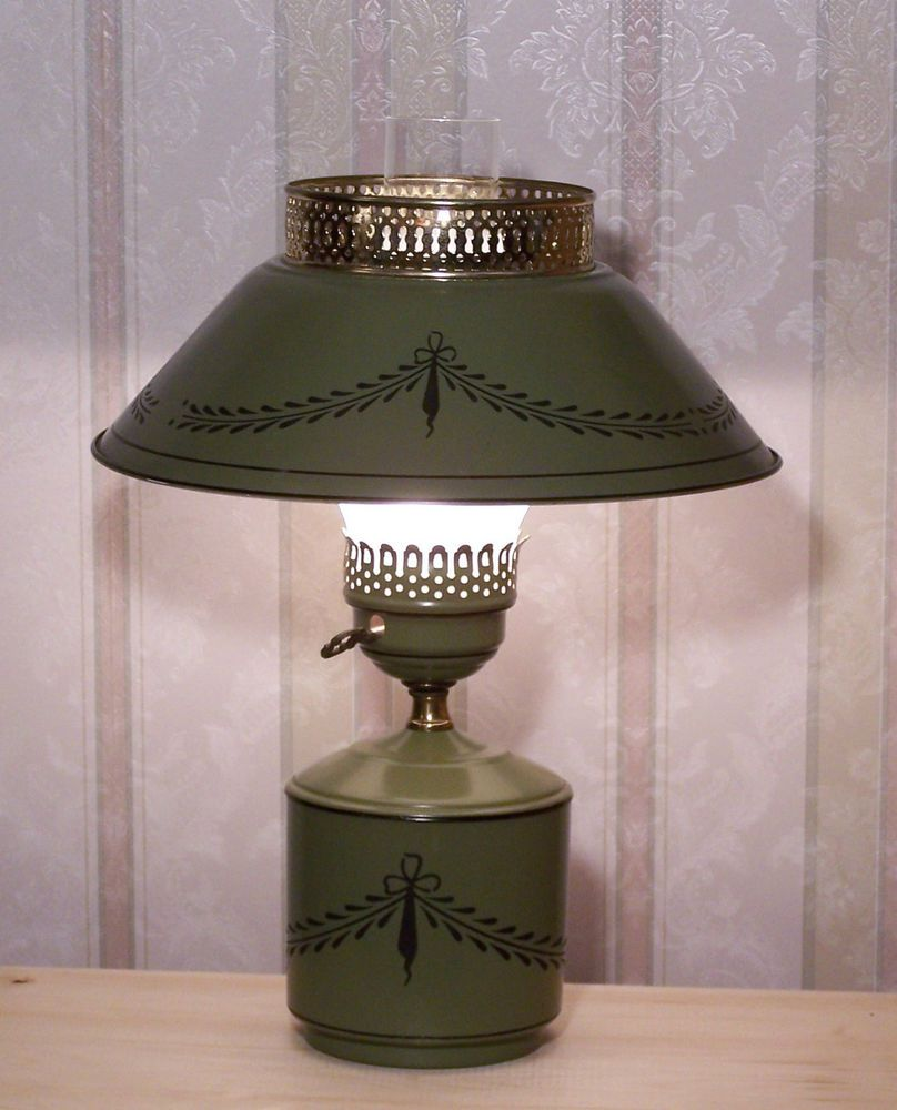 Mid Century 60 S 70 S Olive Green Metal Table Tole Lamp