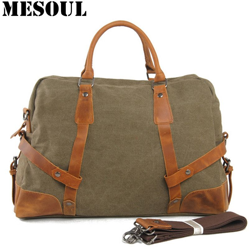 Luggage Travel Bags Military Canvas Leather Men Weekend Bags Vintage  Overnight Women Large Capacity Tote Handbag 53139f7b0e590