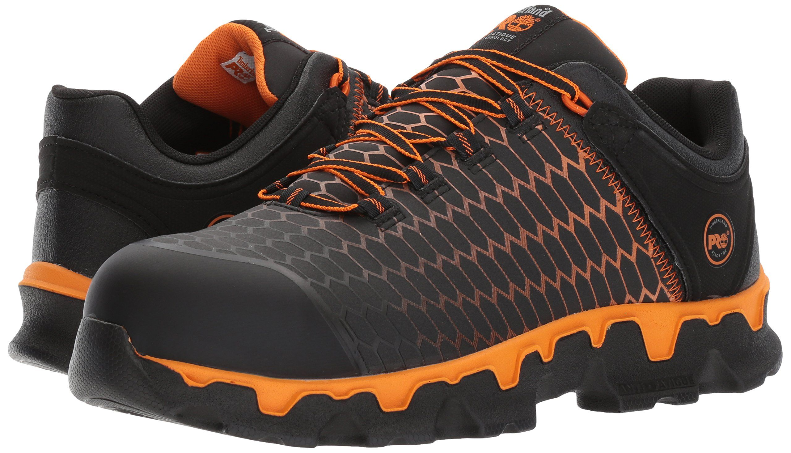 Timberland PRO Men's Powertrain Sport Alloy Toe EH Industrial and Construction Shoe, Black Synthetic/Orange, 7.5 M US