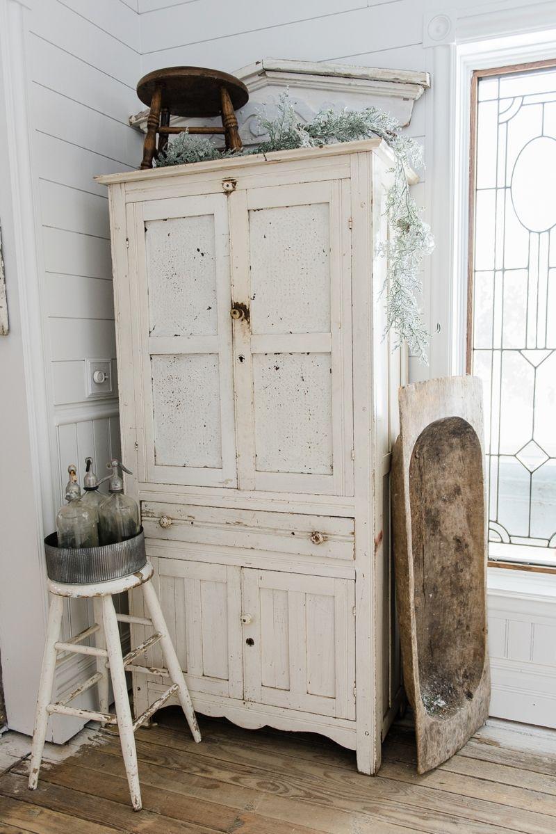 Farmhouse Winter White Cabinet