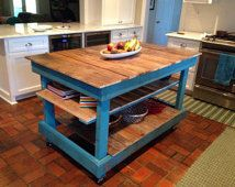 Large Rustic Kitchen Island, Country Cottage, Buffet, Sideboard, Pallet Kitchen Island
