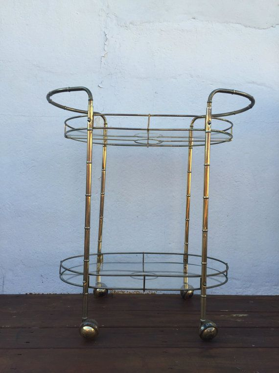 MCM Brass Bamboo Bar Cart by 3Stars2Bars on Etsy