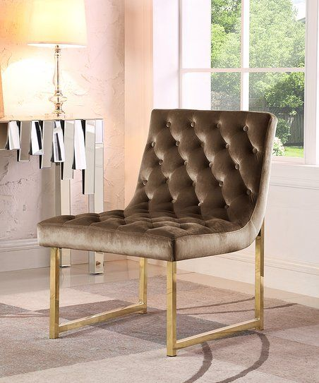 Taupe Tufted Velvet Esfir Accent Chair | Zulily