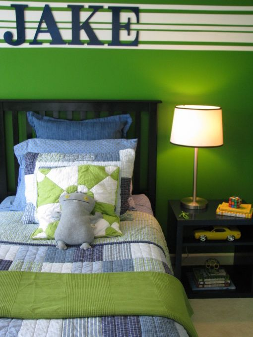 BOYS GREEN BEDROOM, This is my 8 year-old sons bedroom redo. With previous post help, I have chosen the bedding after picking the wall color first- big no, no! Here is what have done so far. Looking for a rug with green on it. Sugestions welcome!, What a diference a little paint makes!Painted the headboard black, changed & painted the bedside table blue and replaced lampshade for a smaller one with piping. Rearranged furniture as suggested in previous post. , Boys Rooms Design