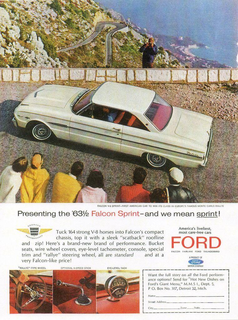 1963 ford falcon sprint usa ford falcon car print ads ford classic cars pinterest