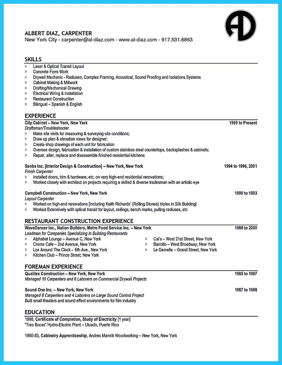 Sample Carpenter Resume Adorable Nice Tips You Wish You Knew To Make The Best Carpenter Resume Check .