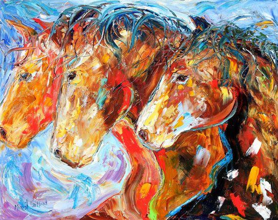 Original Wild Horses EQUINE PALETTE KNIIFE oil painting by Karensfineart,