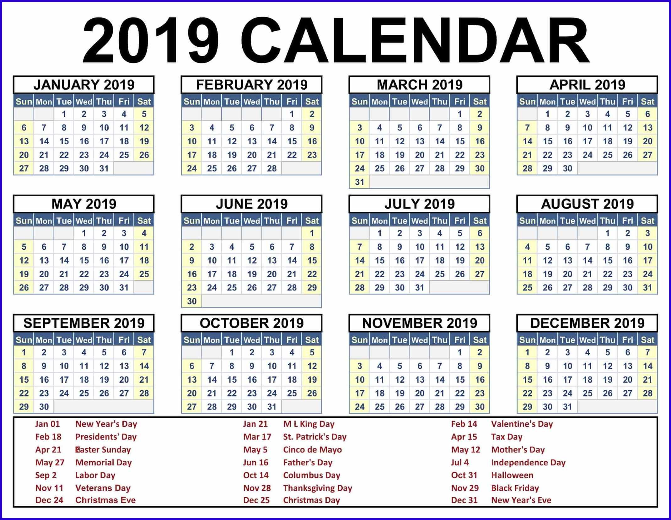2019 Business Calendar Template With Holidays Calendar 2019