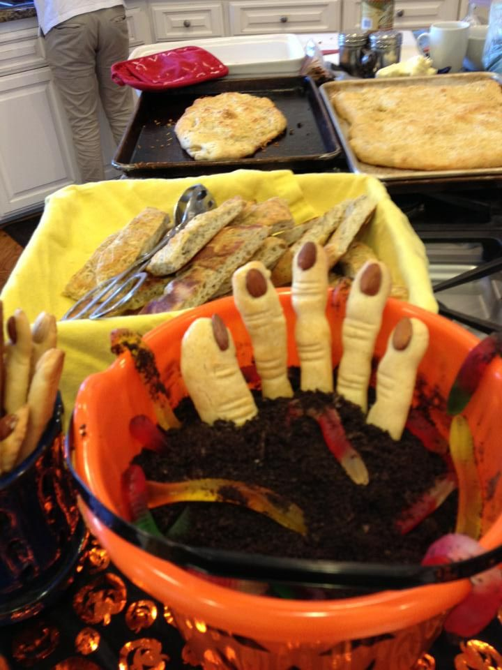 Halloween Fun!  Witches Fingers in Dirt with Gummie Worms
