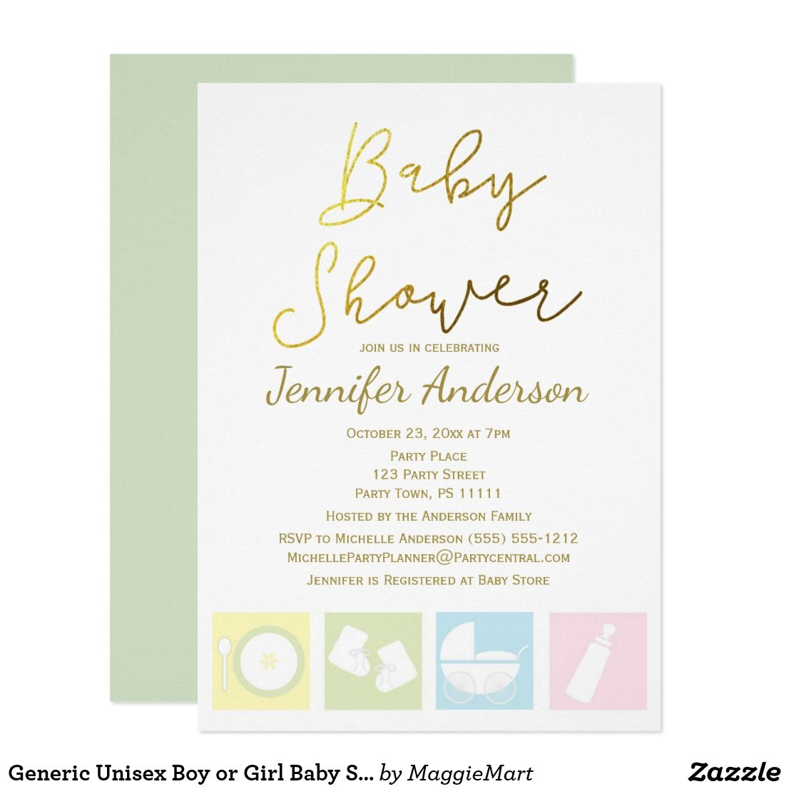 generic unisex boy or girl baby shower invitation in 2018 oh