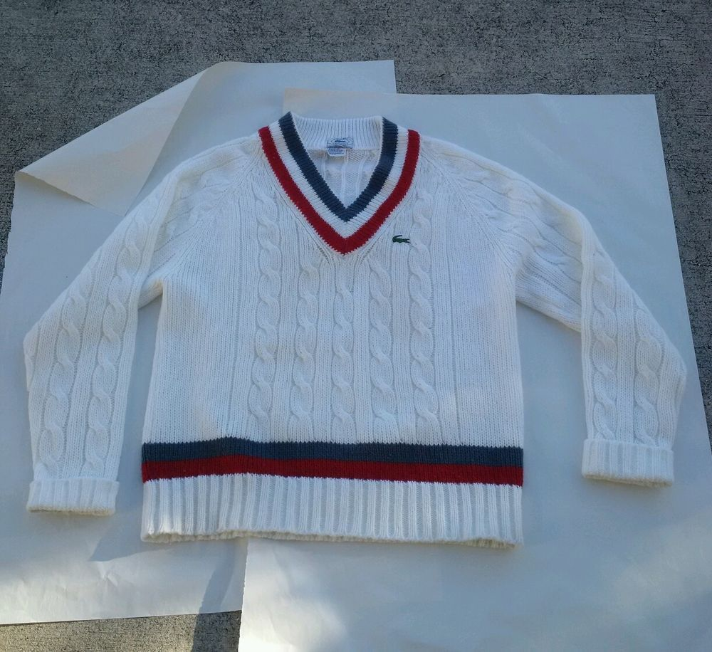 vintage izod lacoste tennis sweater cable knit v-neck hong kong 70 ...