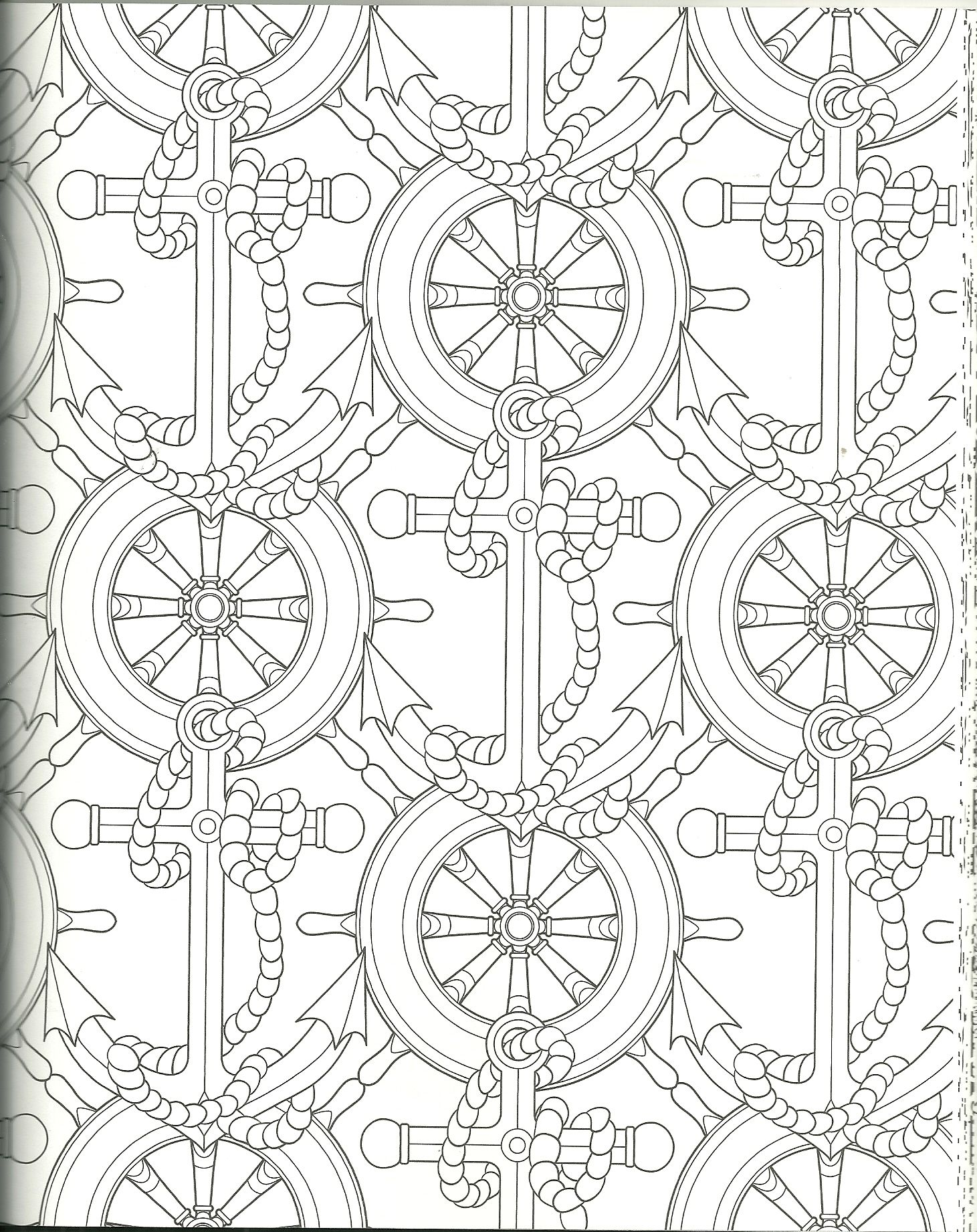 Ships Wheels And Anchors Coloring Page Coloring Pages Adult