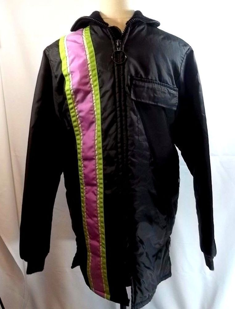 Vintage Snowmobile Coat Jacket Green Purple Stripe S No Belt Made in ...