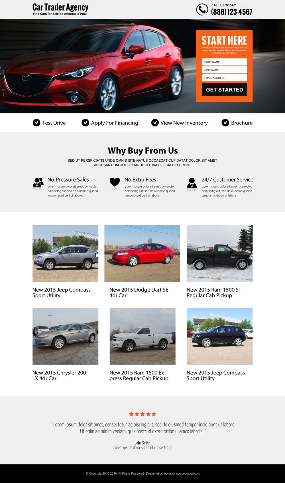 best car trading agency lead generating landing page design | Lead ...