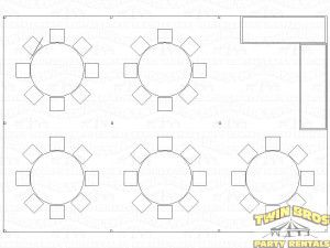 Pole Tent Outline Seating For 48 Rounds Find This Pin And More On Lakeside Backyard Wedding Reception Open House