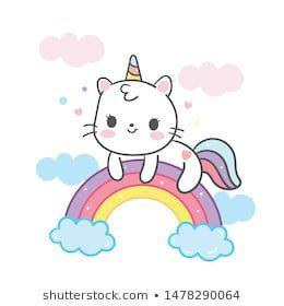 Kawaii Cat Cartoon Unicorn Vector On Stock Vector (Royalty Free) 1478290064