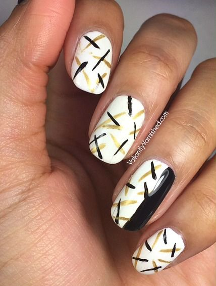 Abstract Black Gold And White Nail Art Re Pin Nail Exchange