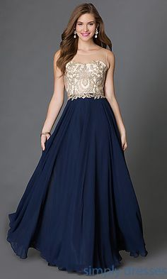 3948005de4c Shop embroidered bodice long prom gowns at Simply Dresses. Long sleeveless  beaded illusion prom dresses and evening gowns for gala formals.