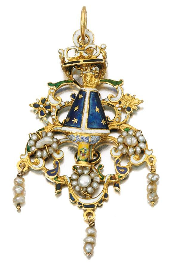 Lot 5 - Gold, seed pearl and enamel pendant, circa 1700