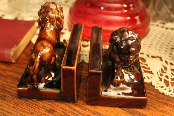 Vintage Ceramic Lion Bookends Pottery Lion by MadGirlRetro on Etsy