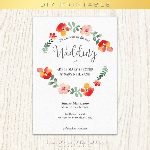 Floral wedding invitation template, unique wedding printable - format for invitation