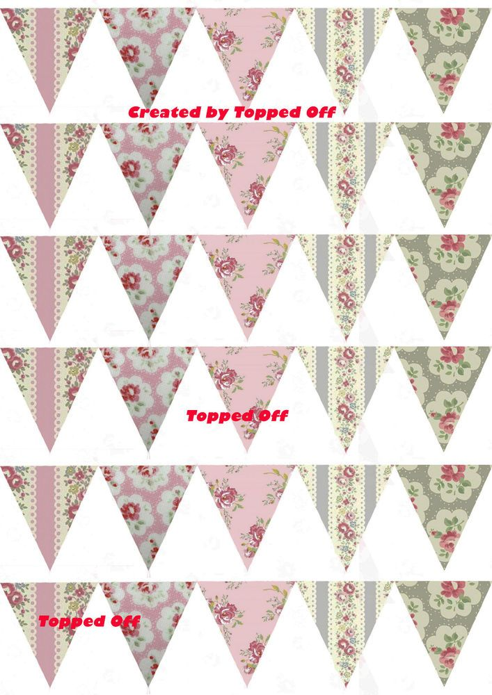 30 shabby chic Cath Kidston vintage edible bunting for cake