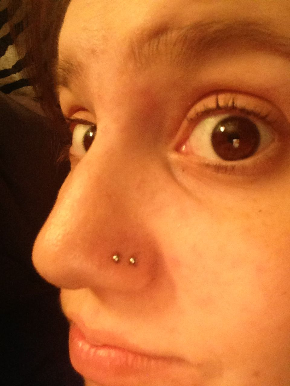 Double nose piercing both sides  Double nose piercing  Piercings  Pinterest  ピアス