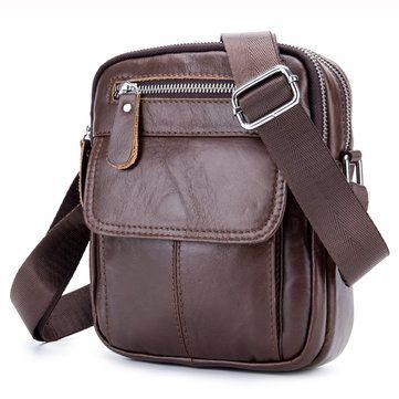 90d4d4ba0d Ekphero® Men Genuine Leather Sling Bag Business Casual Black Crossbody  Shoulder Bag