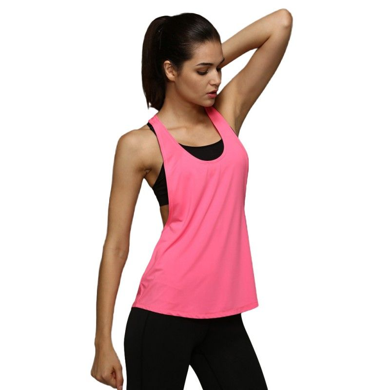 Women Sports Yoga Running Vest Singlet Fitness Gym Tank Crop Top Workout T-shirt