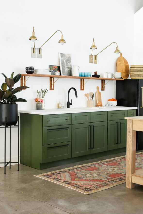 Studio Kitchen Reveal & Cabinet Painting Tutorial #darkkitchencabinets