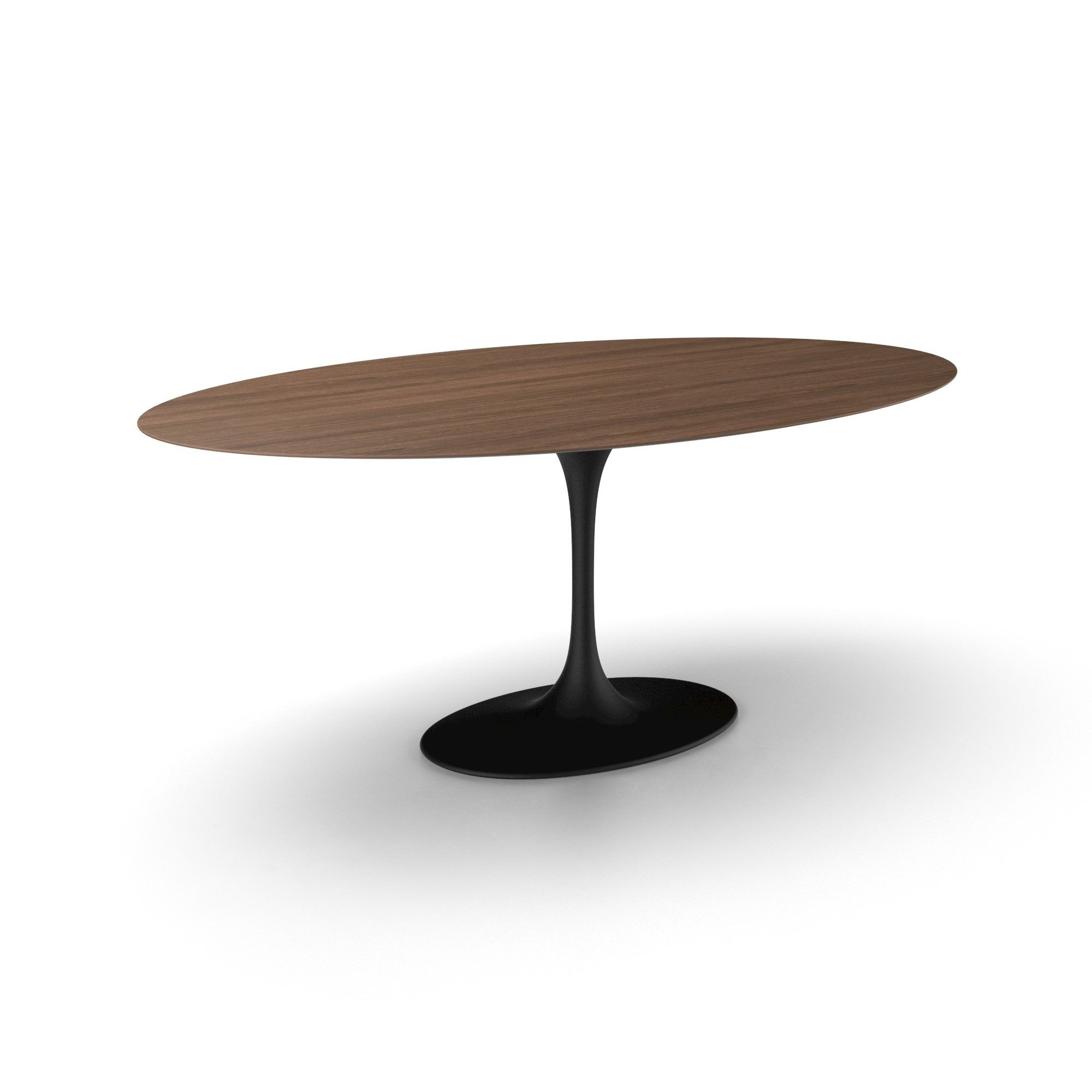 Contemporary Italian Designer Oval Walnut Dining Table With