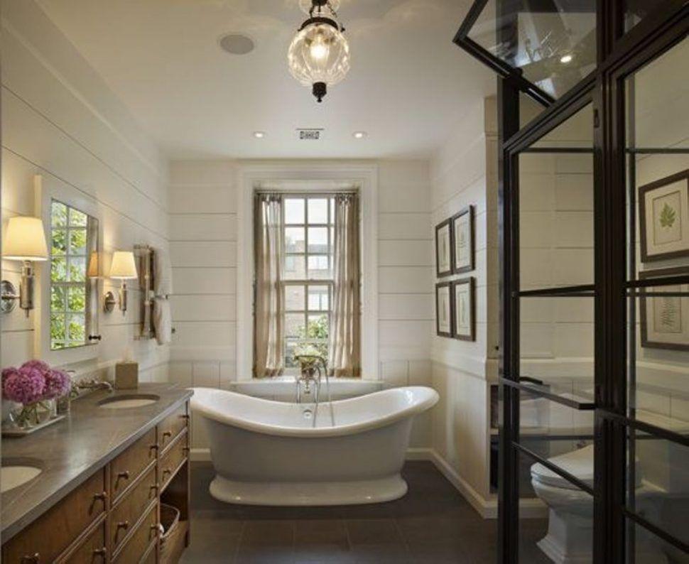 Bathrooms DesignElegant Oval Tub And Glass Lantern For Superb
