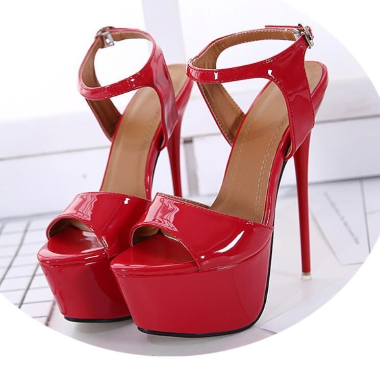 fbcb1179936 Women s Patent Leather Open Toe Shoes High Heel Stage Stilettos ...