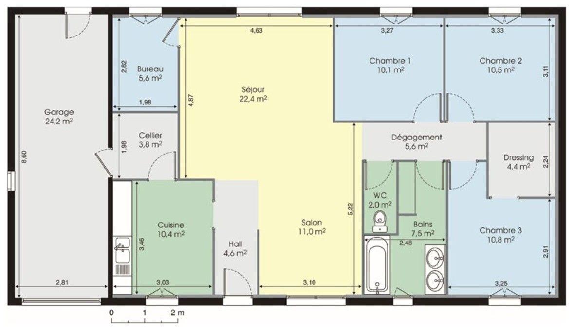 faire plan maison gratuit Maison plain-pied u2013 Détail du plan de Maison plain-pied | Faire
