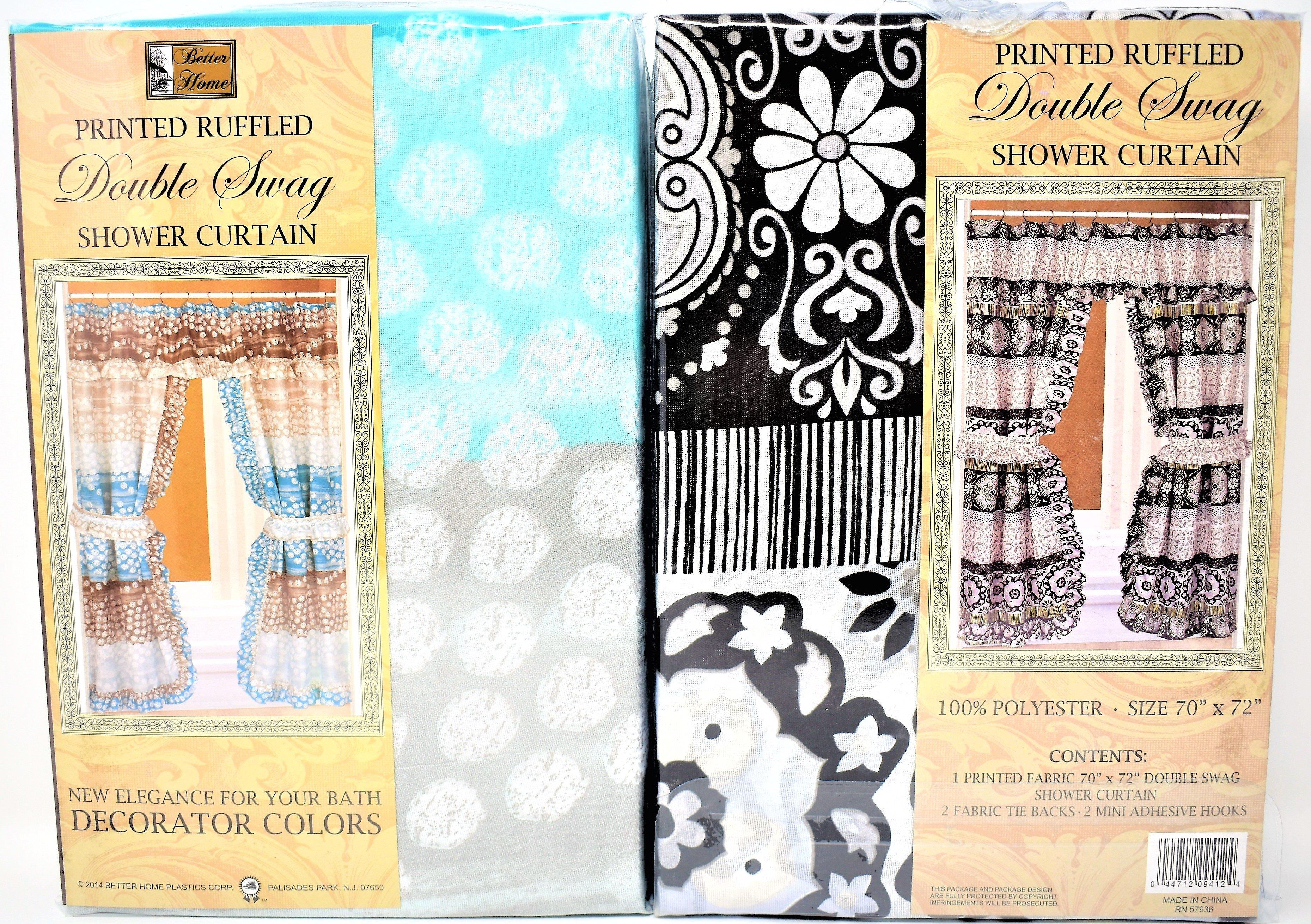 Printed Ruffled Double Swag Shower Curtain 1 ct.