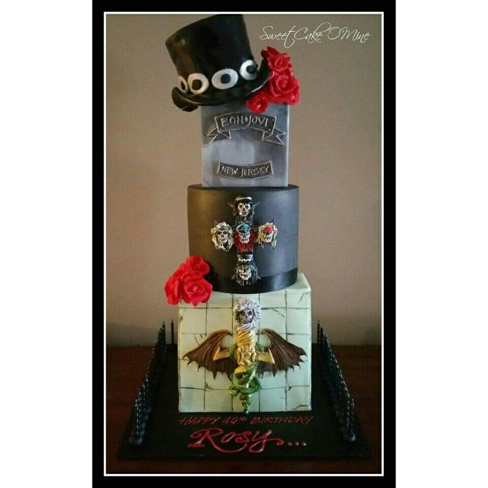 Motley crue, guns n roses, bon jovi, slash ... 40th Birthday cake for Rosy! www.sweetcakeomine.net