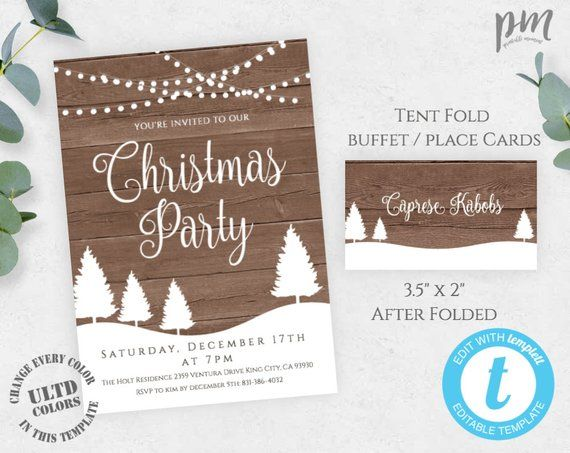 Rustic Christmas Party Invitation With Buffet / Place Cards, Holiday