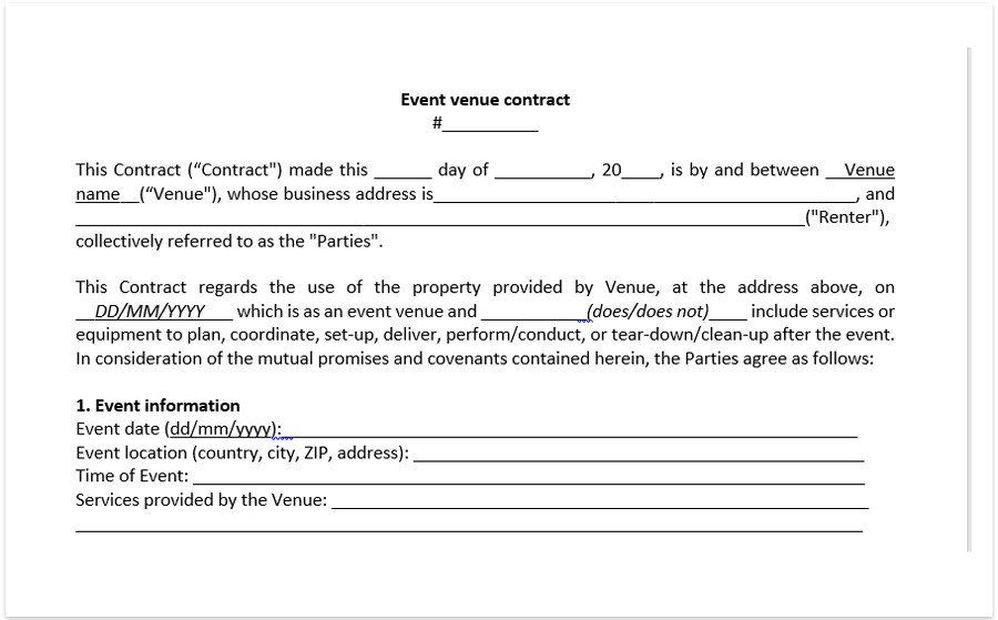 28 Wedding Venue Contract Template In 2020 With Images Event