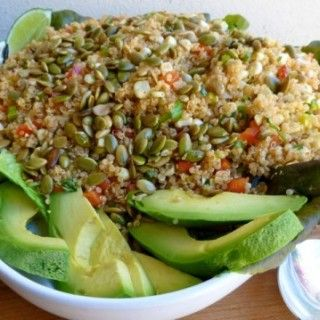 Lightened Up Quinoa and Corn Salad with Toasted Pumpkin Seeds