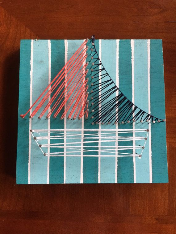 Sailboat string art by arstyleah on etsy craft diy string art sailboat string art by arstyleah on etsy craft diy string art stripes pins pink white navy solutioingenieria Image collections