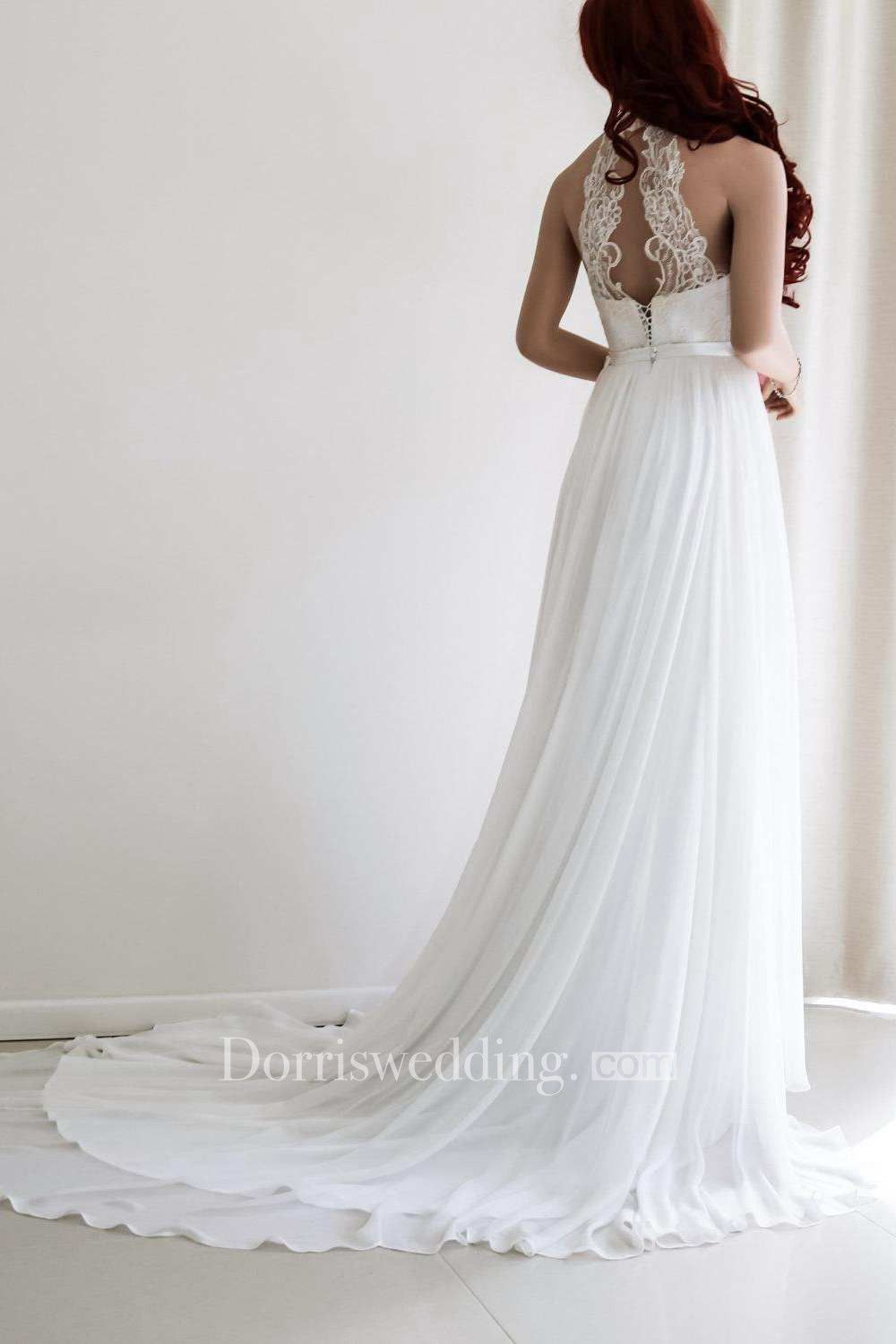 Pleated wedding dress  Lace Appliqued Haltered Empire Chiffon Pleated Wedding Dress With