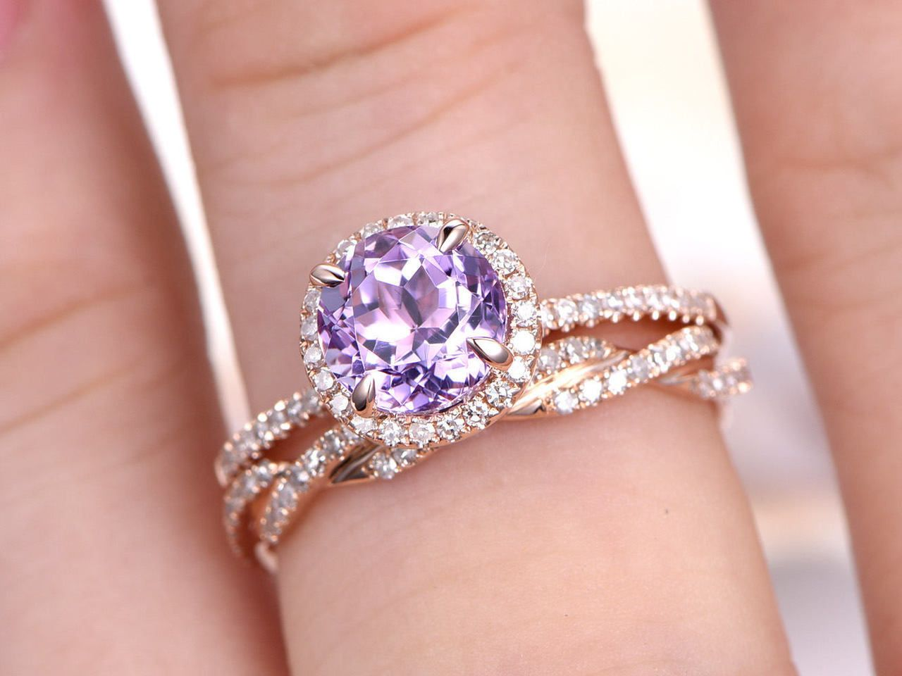 Amethyst Ring Set,Natural Amethyst Engagement Ring,6.5m Round Cut ...