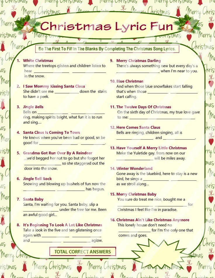 christmas lyrics game christmas song game christmas carol - What Do The Lonely Do At Christmas Lyrics