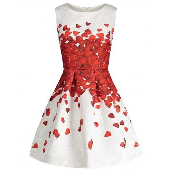 RoseWholesale - Rosewholesale Sleeveless Petal Print Skater Dress - AdoreWe.com