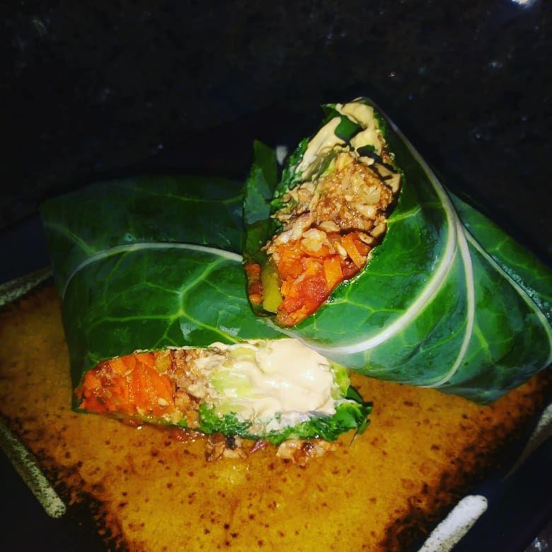Vegan Collard Green Wrap 💚🌿 veganfood