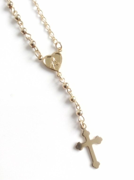 9660f6492c7f9 Delicate Gold Rosary Necklace Cross Rosary Necklace Gold crucifix ...