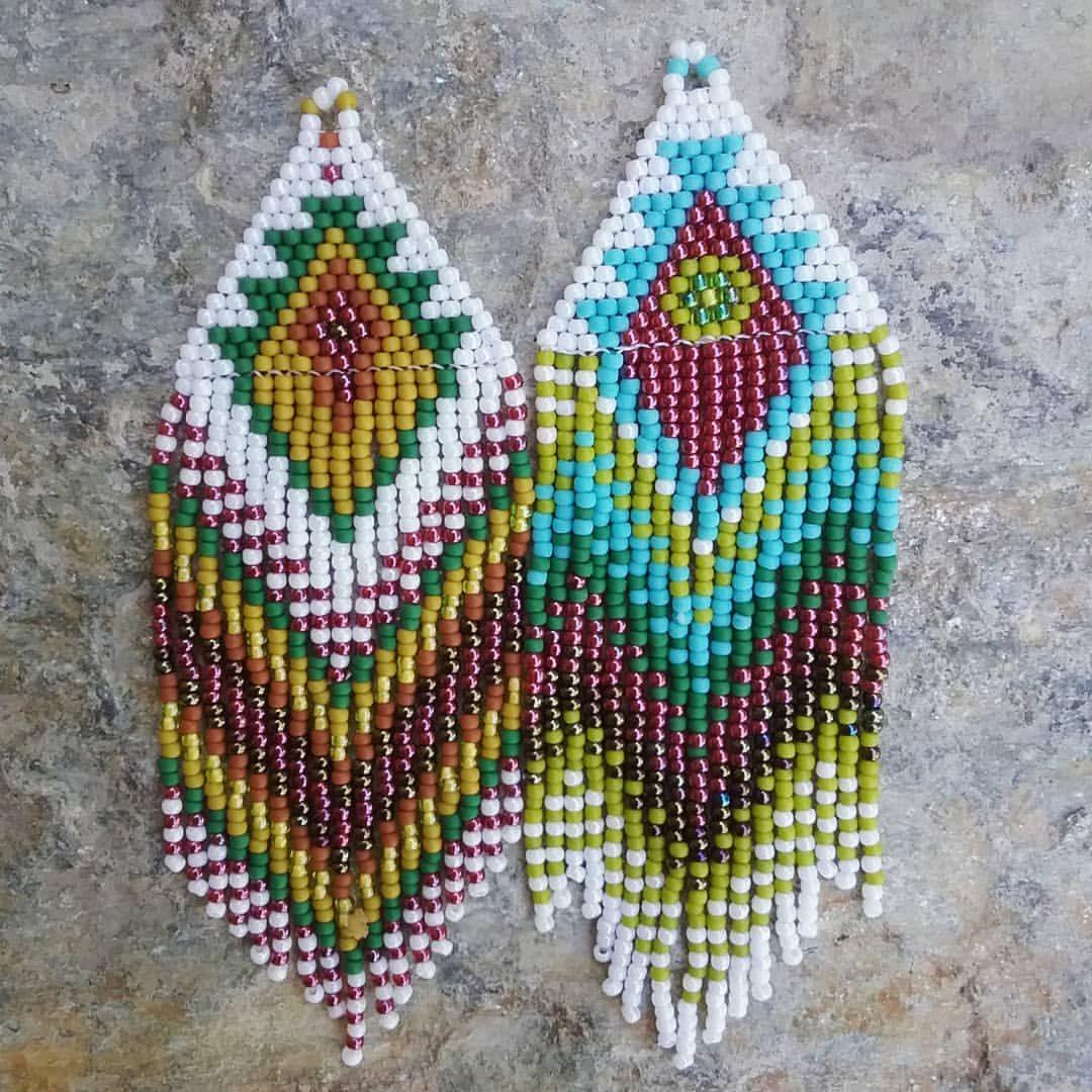 Amethyst wolf earrings native inspired textile design festival earrings leather fringe earrings bohemian earrings beaded earrings