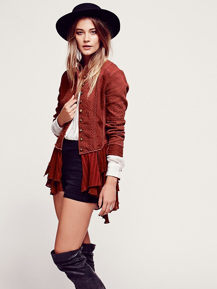 e198f1412 Free People Military Ruffles Jacket, $168.00....Love this all cotton  lightweight jacket!!